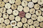 Close-up horizontal format image of used wine bottle corks background.