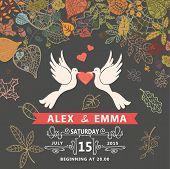 Wedding invitation with pigeons ,autumn leaves