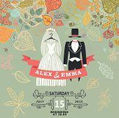 Vintage wedding invitation.Wedding wear,autumn leaves
