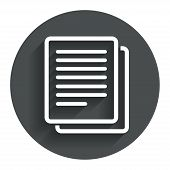 Copy file sign icon. Duplicate document symbol.