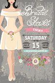 Cute bridal shower invitation.Bride,floral elements