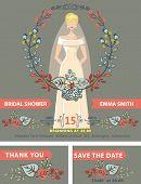 Bridal shower invitation set.Bride,autumn leaves wreath