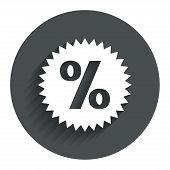 Discount percent sign icon. Star symbol.