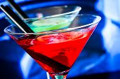 Detail Of Red Cocktail On Blue Blur Background