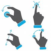hand touch screen gestures icons