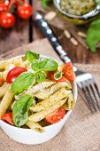 Portion Of Penne With Basil Pesto