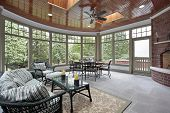 foto of screen-porch  - Bluestone porch with brick fireplace and skylights - JPG