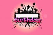 stock photo of happy birthday  - a birthday frame back drop with silhouettes and stars - JPG