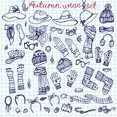 Outline Sketchy notepaper. Female Accessories Set.Autumn,winter
