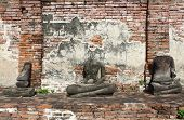 stock photo of gautama buddha  - Ancient Buddha statues at wat mahathat  - JPG