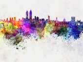 Mumbai Skyline In Watercolor Background