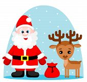 Vector Illustration Of Cute Santa Claus With Gifts And Reindeer.