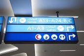 Airport gate board sign