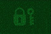 Encrypted Digital Lock And Key With Green Binary Code