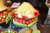 stock photo of green papaya salad  - raw material to make green papaya salad - JPG