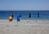abandoned six beach umbrellas