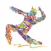 abstract silhouette of dancer in hip hop