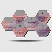 Infographic poligonal elements, 6 hexagons