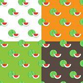 Vector Flat Watermelons Seamless Pattern