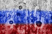 Russian Flag On A Weathered Grunge Background