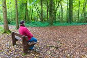 Man Sitting In A Forest On A Bench