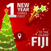 Infographic. New Year is coming first on the island of Fiji.