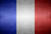 Closeup Screen France Flag Concept On Pvc Leather For Background