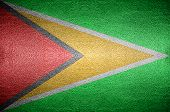 Closeup Screen Guyana Flag Concept On Pvc Leather For Background