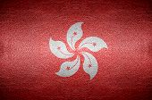 Closeup Screen Hongkong Flag Concept On Pvc Leather For Background