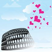 Colosseum and heart love Rome, Italy, vector illustration