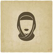 foto of hijabs  - Arabic woman avatar old background  - JPG