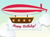 Happy birthday illustration with balloon and ribbon