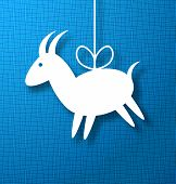 Goat Paper on Bright Blue Canvas Background.