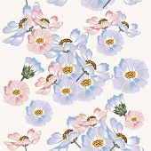 Seamless Pattern With Blue And Pink Cosmos Flowers