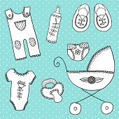 cute elements for baby arrival card