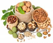 stock photo of mixed nut  - Top view of variety nuts  - JPG
