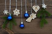 Winter Decorations On Wooden Background
