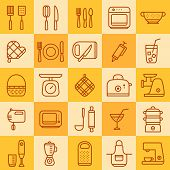 Set Of Icons Of Different Types Of Cookware