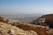 stock photo of zealots  - View on Dead Sea from Masada fortress Israel - JPG