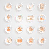 Medical Icons  Button Shadows  Vector Set