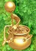 3D Pot Of Gold St Patrick's Day Concept