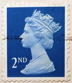 UNITED KINGDOM - CIRCA 2010: An English Used Second Class Postage Stamp