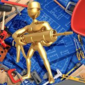 3D Construction Home Improvement Concept With Caulking Gun