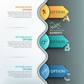 foto of arrow  - Modern infographic option banner with colorful paper circles and arrows on dark background - JPG