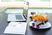 foto of fruit bowl  - working home laptop business computer and Fruit bowl - JPG