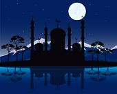 Silhouette to mosques in the night