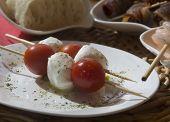 Tapas Plate With Tomatoes Mozzarella Cheese