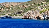 Island in the Ionian Sea, Zakynthos. Azure coast of Greece. View of coast from the sea