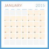 Calendar 2015 Vector Flat Design Template. January. Week Starts Sunday