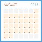 Calendar 2015 Vector Flat Design Template. August. Week Starts Sunday
